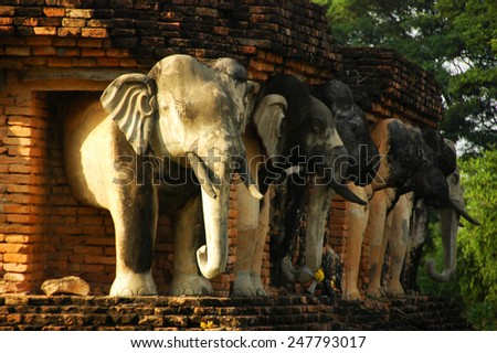 Ruins temple of Sukhothai historical park - stock photo