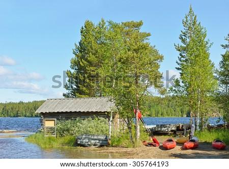 RUKA, FINLAND - JULY 10,2015:Oulanka is National Park of flowing water. Area is traversed by two large rivers Oulankajoki and Kitkajoki. Park has several tributaries, such as Maaninkajoki, Savinajoki - stock photo
