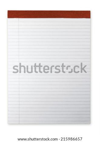 Ruled Notepad or memo pad with highlight isolated on white. Red spine. - stock photo