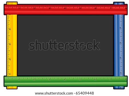 Ruler Frame Blackboard. In red, blue, yellow & green with copy space for albums, scrapbooks, back to school, education & literacy projects. - stock photo