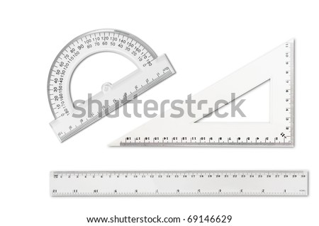 Rulers isolated on white - stock photo