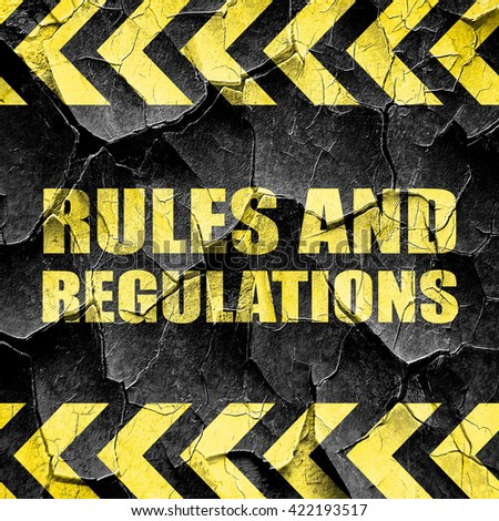 rules and regulations, black and yellow rough hazard stripes - stock photo