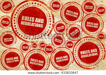 rules and regulations, red stamp on a grunge paper texture - stock photo