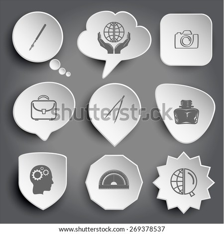 ruling pen, protection world, camera, briefcase, caliper, inkstand, human brain, protractor, globe and magnifying glass. White raster buttons on gray. - stock photo