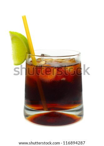 Rum and coke cocktail isolated on white - stock photo