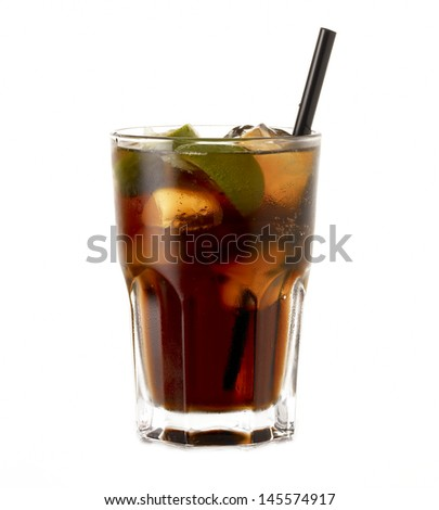 Rum Cocktail Cuba Libre with lime isolated on white background - stock photo