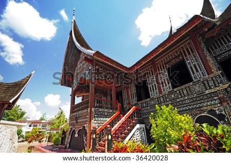 Rumah Gadang or Big House in Padang, West Sumatra - stock photo