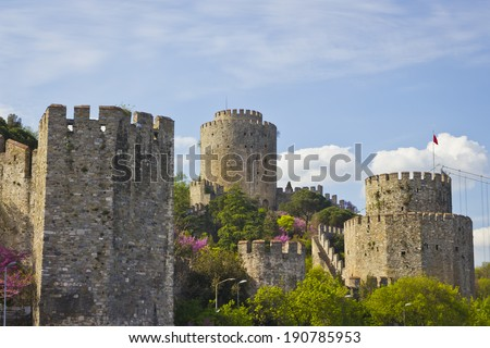 Rumelihisari is a famous byzantine fortress in Istanbul. This old ruin as a landmark in the heritage of Turkey. Rumelian Castle. - stock photo