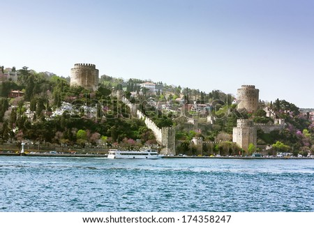Rumelihisari is a fortress located on a hill at the European side of the Bosphorus. - stock photo