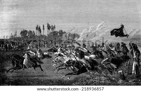 Run a Hungarian. One of them in front of his comrades in length, vintage engraved illustration. Journal des Voyage, Travel Journal, (1880-81). - stock photo