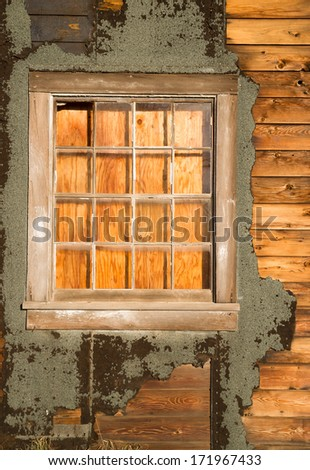 Run Down Ruin Boarded Up House Plywood Window Panes - stock photo