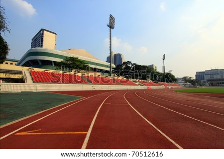 Run race track in sport stadium - stock photo