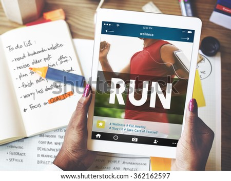 Run Runner Athleic Exercise Health Jogging Speed Rush Concept - stock photo