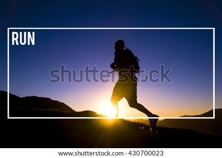 Run Rush Sprint Speed Activity Healthy Hurry Concept - stock photo