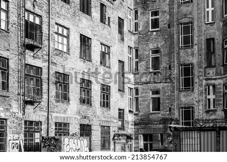 Rundown Apartment Block in Berlin Germany - stock photo