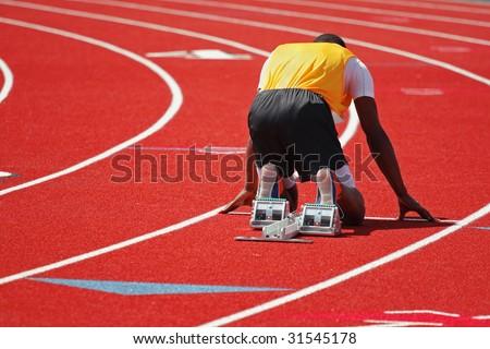 Runner at the starting line - stock photo