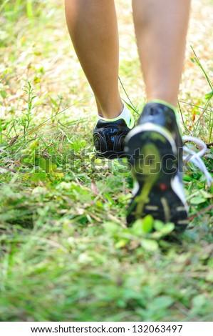 runner feet - stock photo