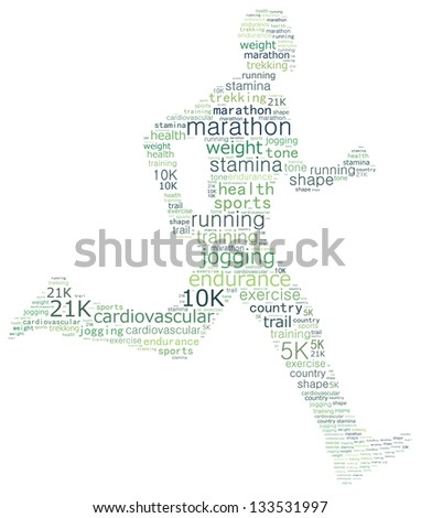 Runner in word collage - stock photo