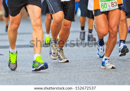 Runner running and marathon  - stock photo