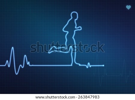 Runner-shaped blip on a medical heart monitor (ECG - electrocardiogram) with blue background and heart symbol. - stock photo
