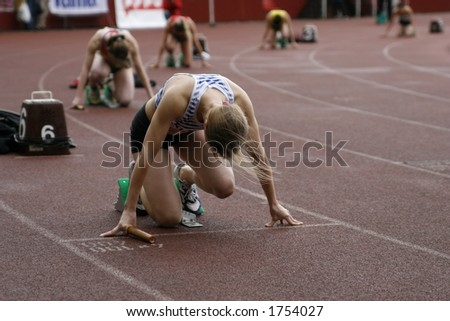 runners getting ready - stock photo