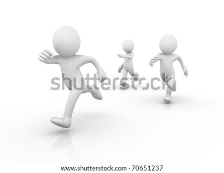 Runners / Running men - stock photo