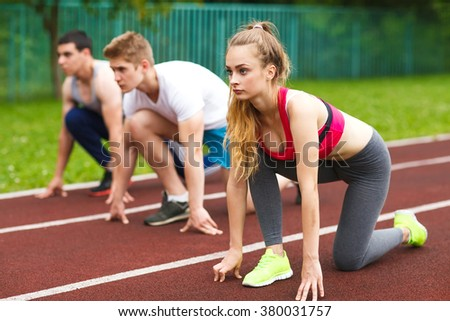 Runners starting the race. - stock photo
