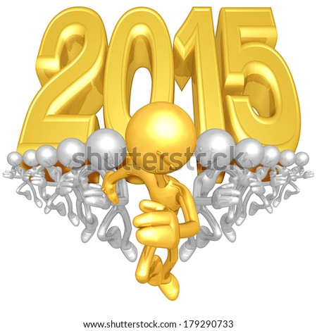 Runners With Year Behind Them - stock photo