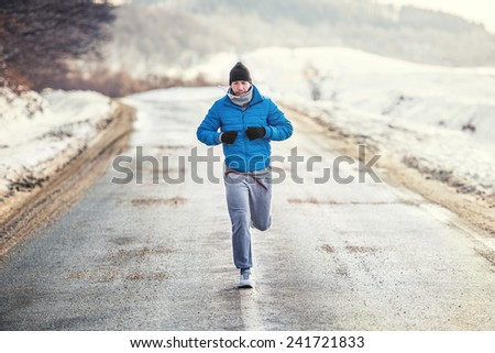 Running athlete man, working out and training for box match - stock photo