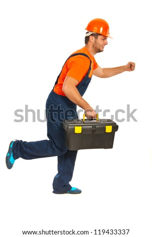 Running builder workman with tool box isolated on white background - stock photo