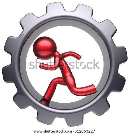 Running business inside gear wheel man stylized red character human rotate cogwheel cartoon guy hamster person worker black gearwheel work employment businessman concept 3d render isolated on white - stock photo