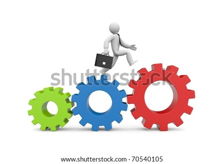 Running businessman. Image contain clipping path - stock photo
