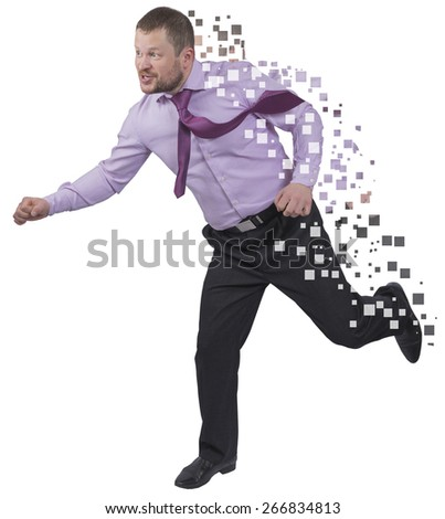 Running businessman in a hurry on white background - stock photo