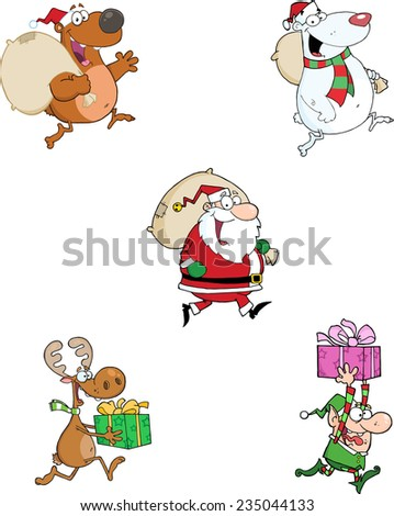 Running Christmas Cartoon Characters. Raster Collection Set - stock photo
