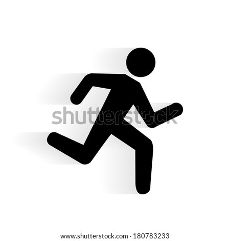 Running Human Icon silhouette with shadow isolated on white - stock photo