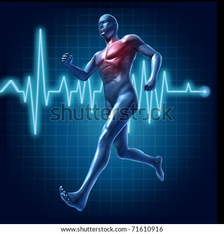 Running human with heart monitor symbol representing cardiovascular health and heart pulse rate - stock photo