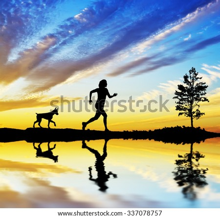 running in the nature - stock photo