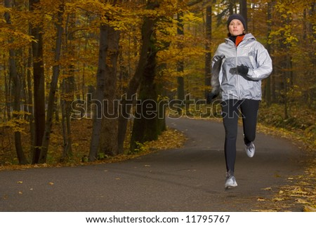 Running in the park - stock photo