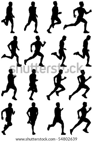 Running man black silhouettes, sixteen different postures - stock photo