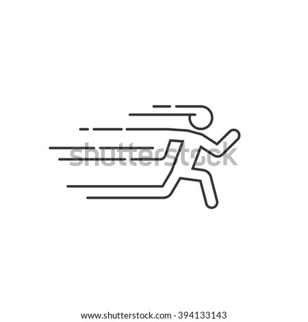 Running man illustration with motion blur track lines,abstract running person silhouette symbol, modern simple sprinter trail shape, flat linear outline style icon design isolated on white sign image - stock photo