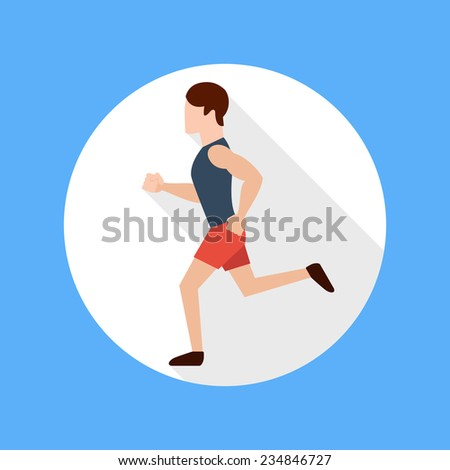 Running man in flat design style. Keeping fit exercises and jogging. Raster version - stock photo