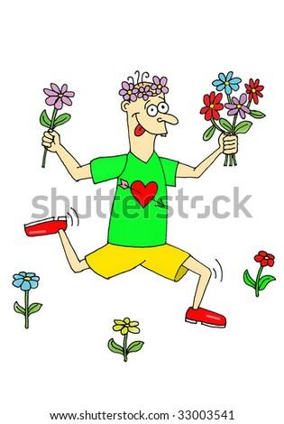 running man in love - stock photo