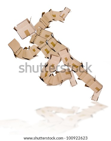 Running man made of boxes on white - stock photo