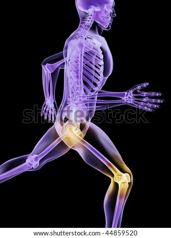 running man - painful hip and knee - stock photo