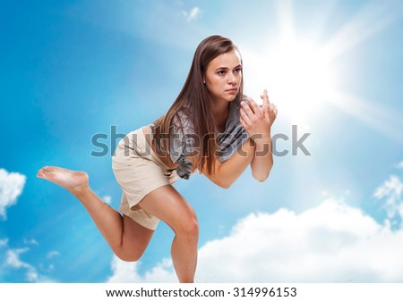 Running on clouds. - stock photo