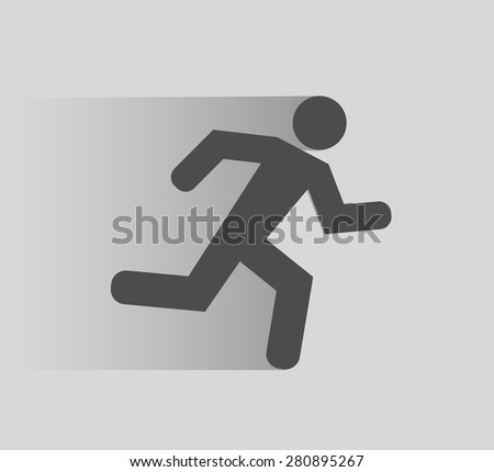 running person icon flat shadow - stock photo