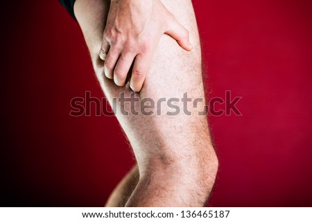 Running physical injury, leg pain. Healthcare and medical concept. Man having pain in muscle. - stock photo