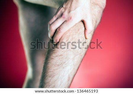 Running physical injury, leg pain. Runner sore body after exercising. Man having pain in muscle. - stock photo