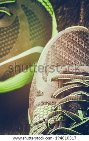 Running shoes closeup - stock photo