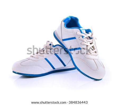 running shoes on the white background - stock photo